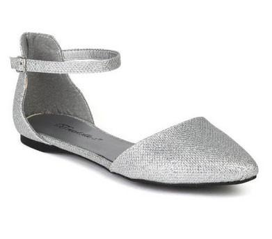 Dolley-81 Glitter Leatherette Pointy Toe Ankle Strap Ballet Flats - WarehouseSpot
