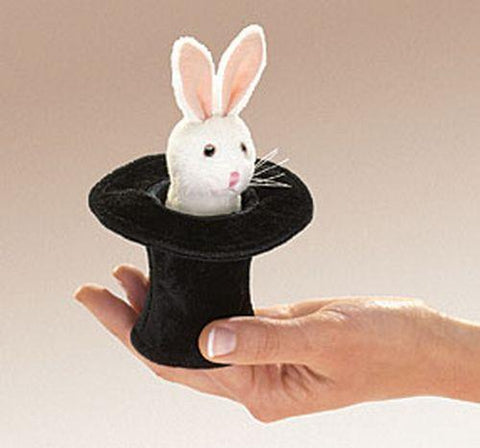 Folkmanis Mini Rabbit In Hat Finger Puppet - 2709 - Peazz.com