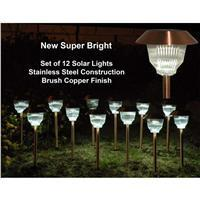 Homebrite 30865  Solar Light Stainless Steel Brushed Copper Finish Rockwell Set of 12 - Peazz.com