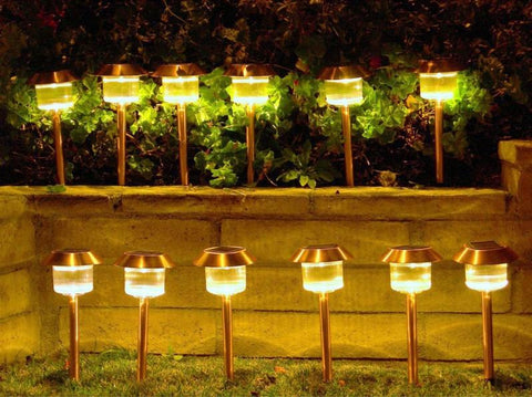 Homebrite 30867/12 Set of 12 Solar Power Belmont Path Lights - Peazz.com