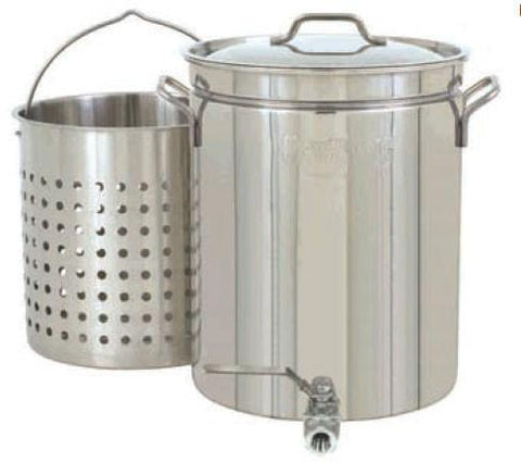 Bayou Classic 10 Gallon Stainless Steel Boil And Steamer Stockpot Set With Spigot - WarehouseSpot