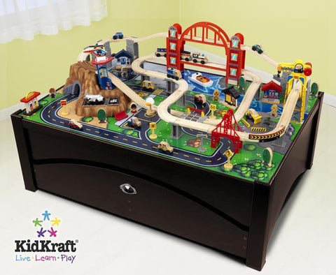 KidKraft Metropolis Train Table and Set 17935 - Peazz.com