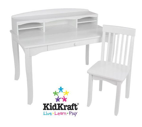 KidKraft Avalon Desk with Hutch - White 26705 - Peazz.com