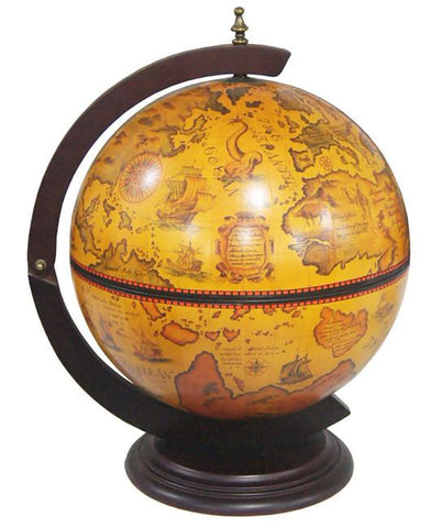 "Turin 16-1/2"" (420mm) Diameter Italian Replica Tabletop Globe Bar - WarehouseSpot"