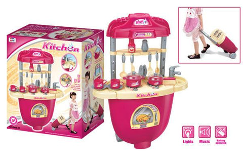 Berry Toys BR008-27 Carry Along Plastic Play Kitchen - Pink - WarehouseSpot