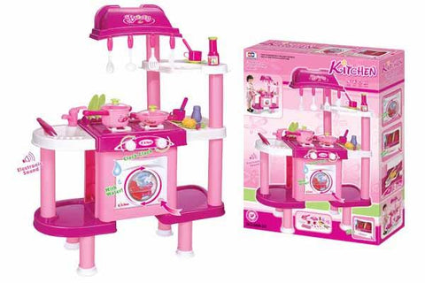 Berry Toys BR008-32 Deluxe Cooking Plastic Play Kitchen - Pink - WarehouseSpot