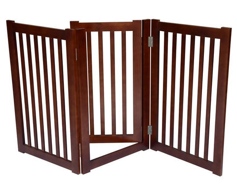 "MDOG2 MK806-600WA 3-Panel Free Standing Pet Gate 60""W x 32""H - Dark Walnut - Peazz.com"