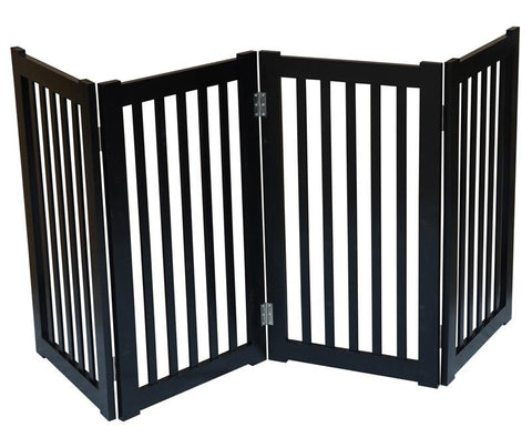 "MDOG2 MK806-720BL 4-Panel Free Standing Pet Gate 72""W x 32""H - Black - Peazz.com"