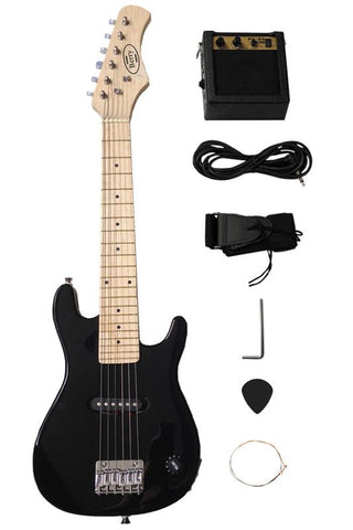 "Berry Toys MKAGT30-ST3-BLK 30"" Electric Guitar Set with 5W Amplifier, Cable, Strap, Picks - Black - WarehouseSpot"