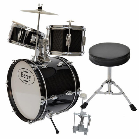 Berry Toys MKMU-3KL-BLK Complete Kids Large Drum Set with Cymbal, Stool, and Sticks - Black - WarehouseSpot