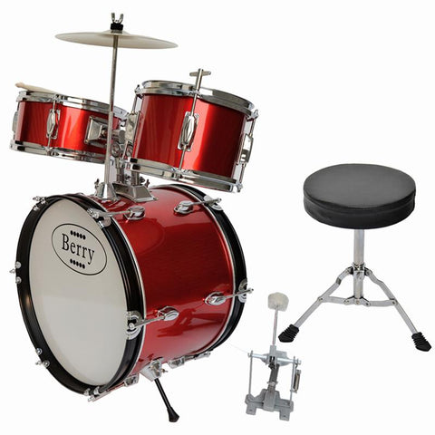 Berry Toys MKMU-3KL-RD Complete Kids Large Drum Set with Cymbal, Stool, and Sticks - Red - WarehouseSpot