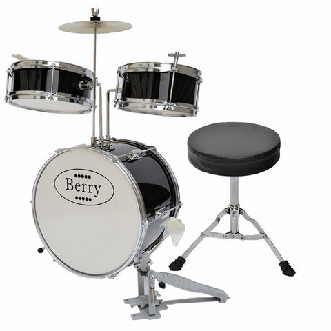 Berry Toys MKMU-3KM-BLK Complete Kids Medium Drum Set with Cymbal, Stool, and Sticks - Black - WarehouseSpot