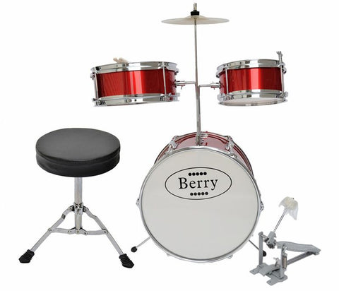 Berry Toys MKMU-3KM-RD Complete Kids Medium Drum Set with Cymbal, Stool, and Sticks - Red - Peazz.com
