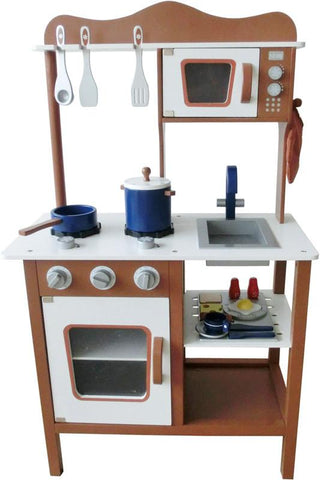 Berry Toys W10C045C Espresso Modern Wooden Play Kitchen - WarehouseSpot