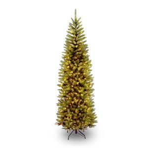 National Tree KW7-300-75 7 1/2' Kingswood Fir Hinged Pencil Tree with 350 Clear Lights - Peazz.com