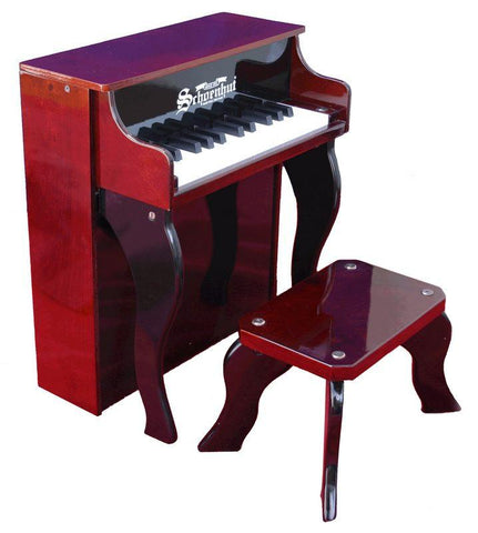 Schoenhut 25 Key Elite Spinet Upright Piano - Mahogany/Black 2505MB - Peazz.com