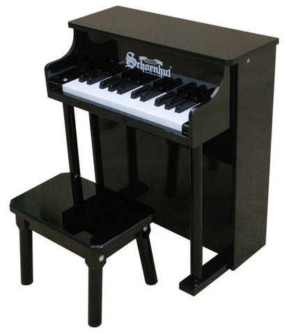Schoenhut 25 Key Traditional Spinet Upright Piano - Black 6625B - Peazz.com