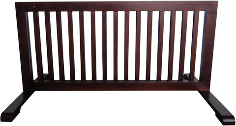 "MDOG2 Free Standing Pet Gate - 23.6""-39.4""L x 20.1""H x 21.6""D - Dark Walnut - Peazz.com"