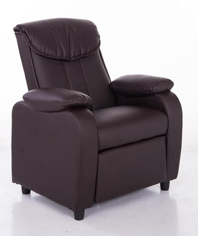 Mochi Furniture KR2002BRN Comfortable KR2002BRN Brown PU Leather Kids Recliner - Peazz.com