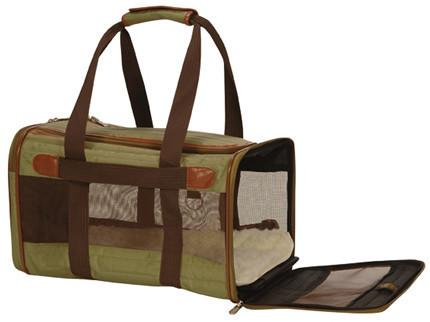 Sherpa 55532 Original Deluxe Pet Carrier Olive/Brown (Small) - WarehouseSpot