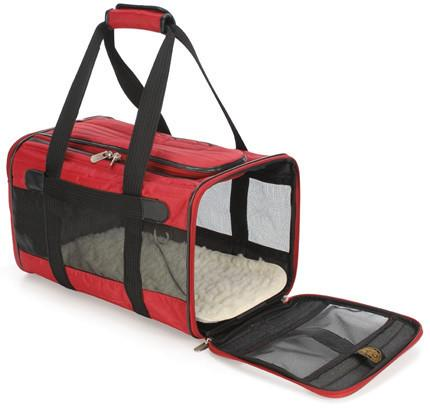 Sherpa 55513 Original Deluxe Pet Carrier Red/Black (Large) - WarehouseSpot
