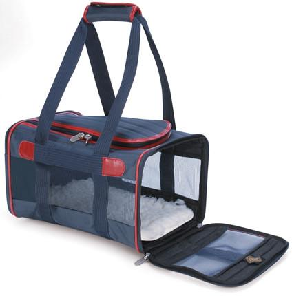 Sherpa 55514 Original Deluxe Pet Carrier Navy/Red (Large) - WarehouseSpot