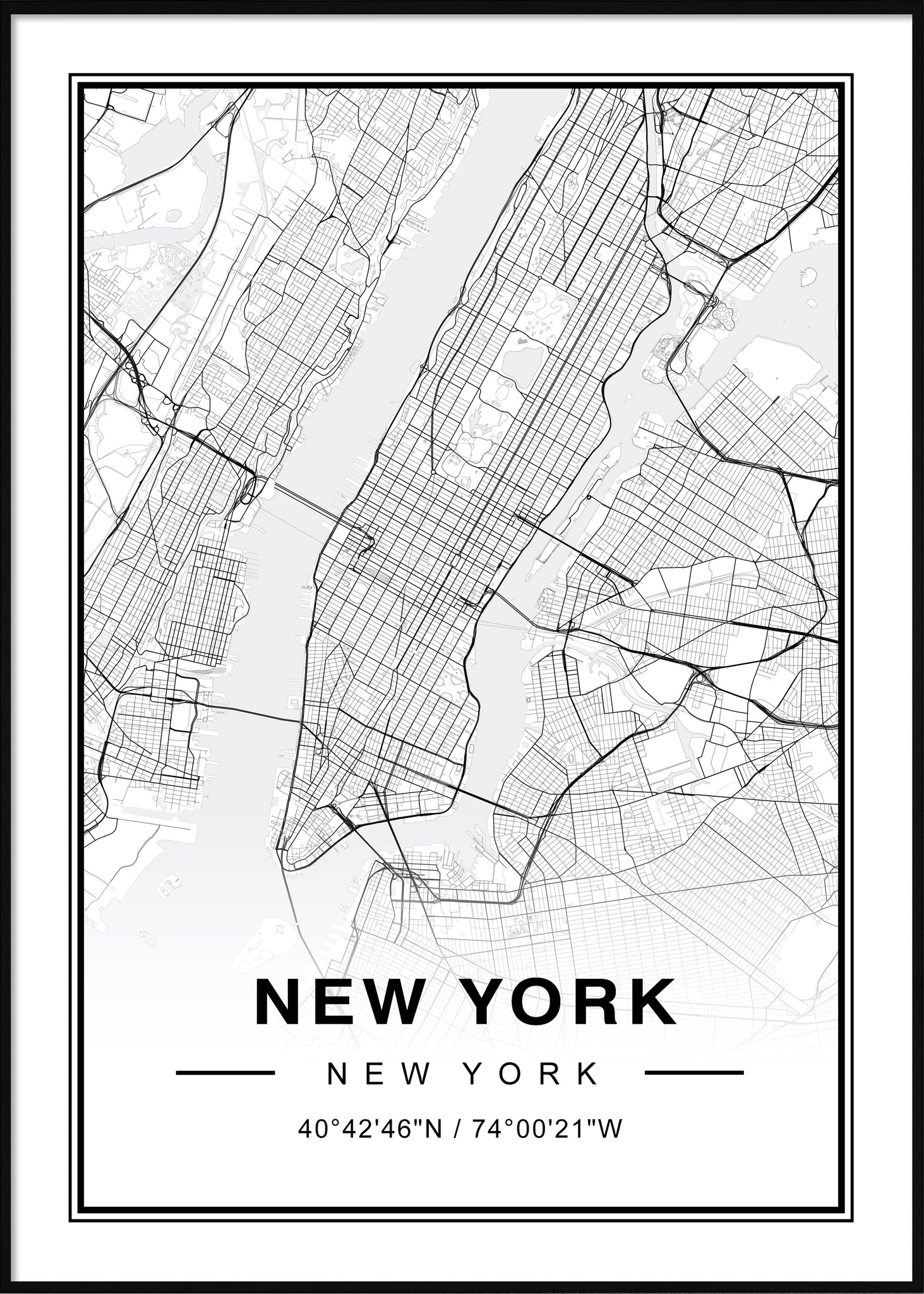 New York Map Black And White.New York Map Moderniart