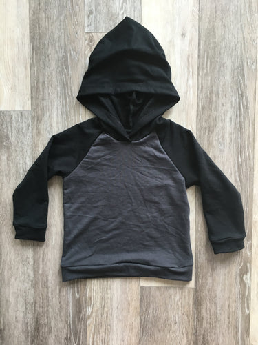 Strummer Hoodie in Black and Charcoal