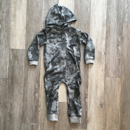 Shaun Hooded Romper in Grey Floral