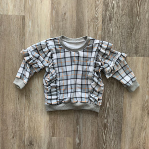 The Lyse Ruffle Sweater in Fall Plaid
