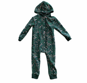 Shaun Hooded Romper in Green Floral