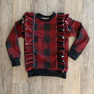 Barbara Ruffle Sweater in Burgundy Plaid
