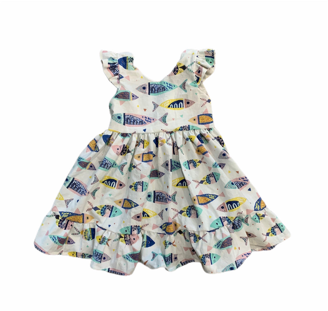Scoop Back Ruffle Dress in Fishes