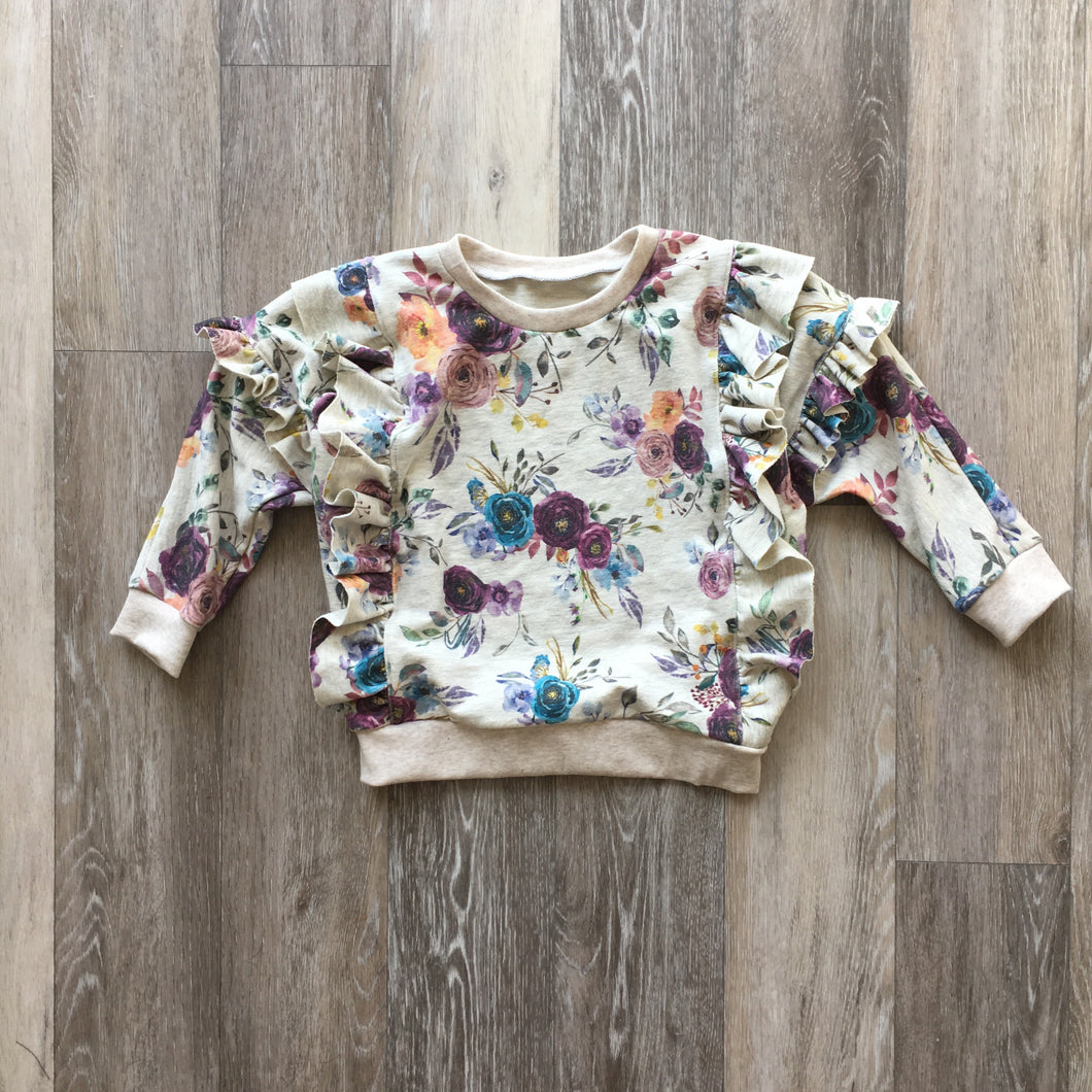 The Lyse Ruffle Sweater in Fall Floral