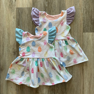 Penney Peplum with Flutter Sleeves in Easter Eggs