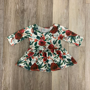 Penney Peplum in Christmas Floral