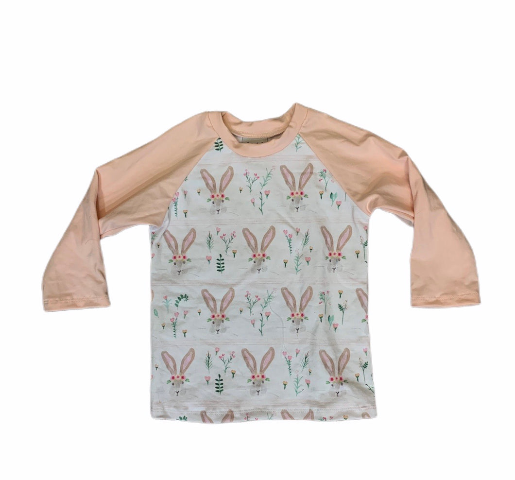 Abbie Baseball Tee in Girl Bunnies with pink Sleeves