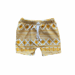 Beach Shorts in Yellow Aztec