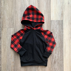 Strummer Hoodie in Red Buffalo Plaid