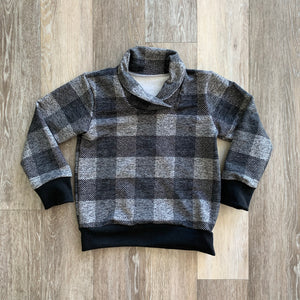 Cowl Neck Sweater in Grey Plaid