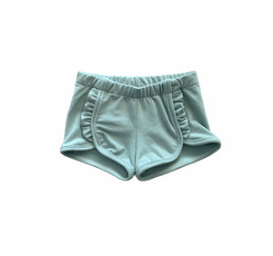 Ruffle Front Shorts in Sea Green