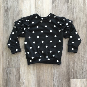 Ruffle Sleeved Crew Neck in Black Polka Dot