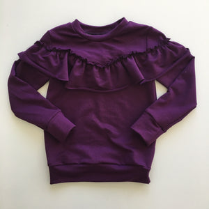 Dolly Ruffle Sweatshirt in Violet