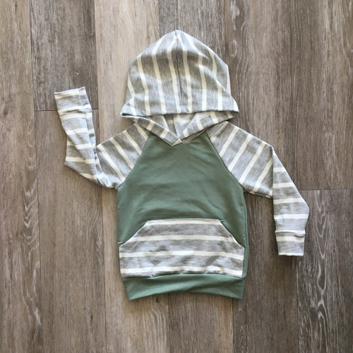 Lincoln Hoodie in Sage and Grey Stripe