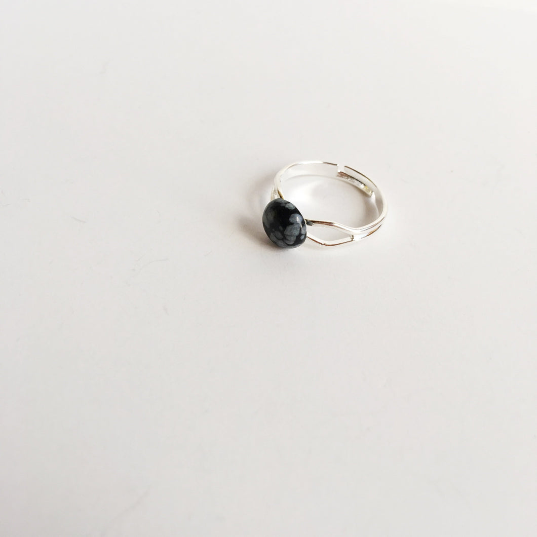 Beautiful Genuine Snowflake Obsidian Adjustable Ring Spocket
