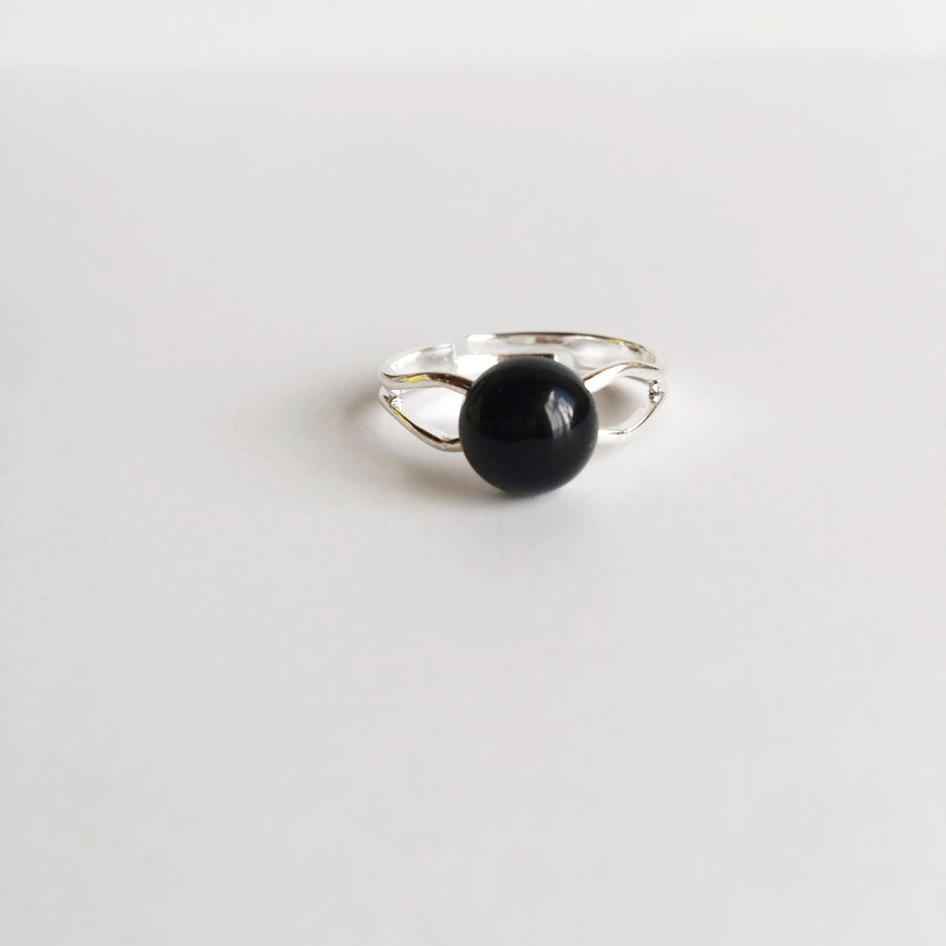 Beautiful Genuine Black Onyx Adjustable Ring Spocket