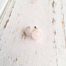 Rose Quartz Sterling Silver Studs Spocket