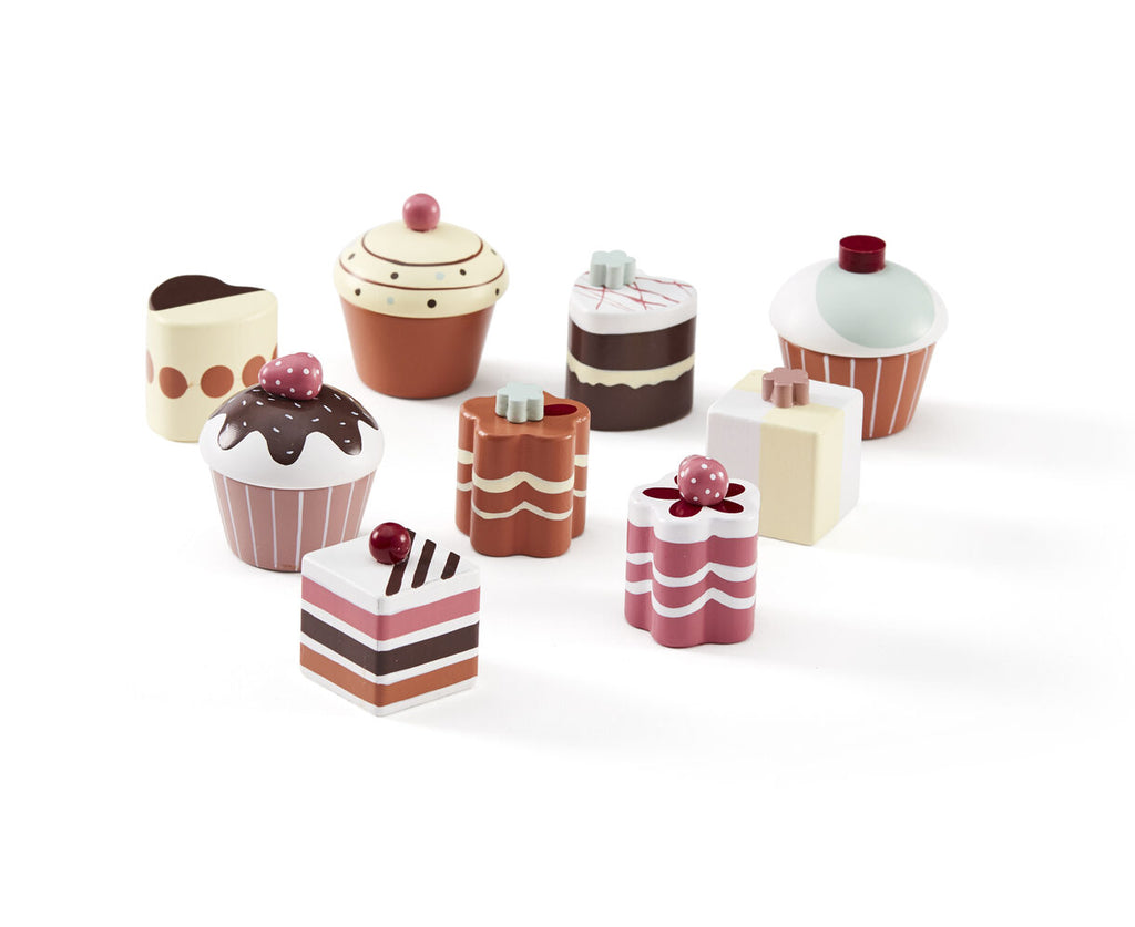 Cupcake Set - 9 Pieces - Wooden