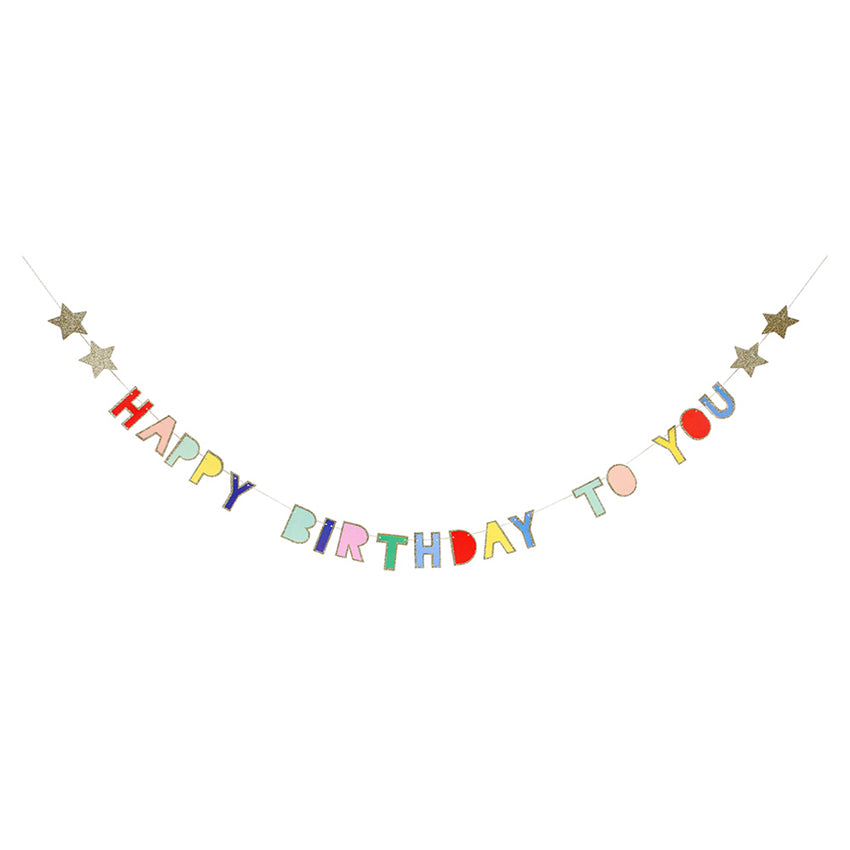 Garland - Happy Birthday - Multicoulered