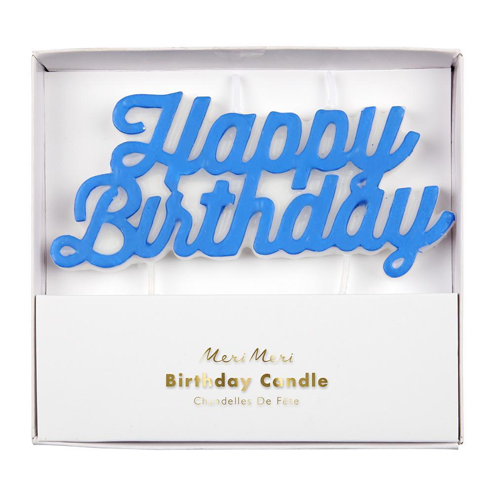 Candle - Happy Birthday - Blue